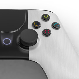 OUYA - Wireless controller with standard controls (two analog sticks, d-pad, eight action buttons, a system button), a touchpad