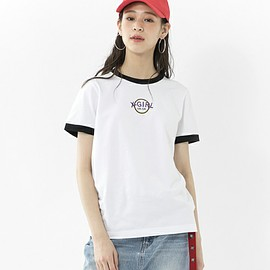 X-girl - X-girl(エックスガール)の「CIRCLE RINGER S/S TEE(Tシャツ/カットソー)」|ホワイト