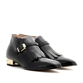 VALENTINO - STUDDED PATENT-LEATHER ANKLE BOOTS