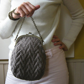 branda - Bag Knitted in Gray Cotton with Removable Chain Handle