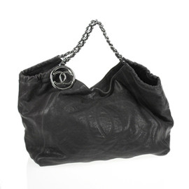 CHANEL - black caviar leather coco cabas large tote bag