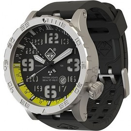 Hazard4® - Heavy Water Diver™ - GMT Yellow, Bead-Blasted, BLK Dial/WHT Graphics