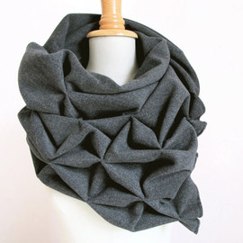 Etsy - geometric wool shawl - superwarm sculptural wrap - triangular 100% wool scarf