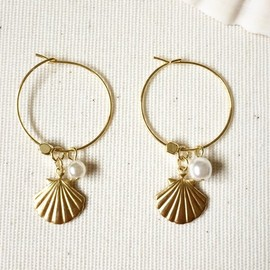 Harumedo - Shell hoop earrings 貝殻フープピアス