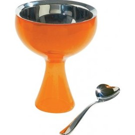 ALESSI - Big love, Ice cream bowl, ice cream spoon, orange