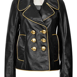 MARC JACOBS - RESORT 2015 Black Leather Double Breasted Jacket