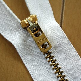 Talon - Vintage Brass #4 White Zipper