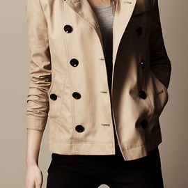 BURBERRY - Short Cotton Trench Coat