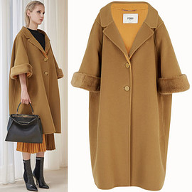 FENDI - FENDI コート FE2128 OVERSIZED WOOL COAT WITH MINK FUR TRIM