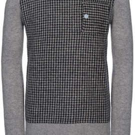 BAND OF OUTSIDERS - Gray Houndstooth Crewneck Sweater