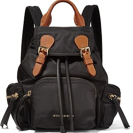Burberry - Small leather-trimmed gabardine backpack
