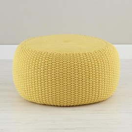 Crate & Barrel - Yellow Braided Pouf