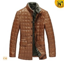 CWMALLS - Leather Padded Jacket Coat for Men CW829256