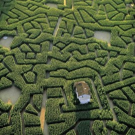 Tarn, France - Corn Labyrinth in Cordes-sur-Ciel