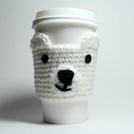 MsAmandaJayne - Polar bear cozy, crochet cup sleeve, white coffee cozy
