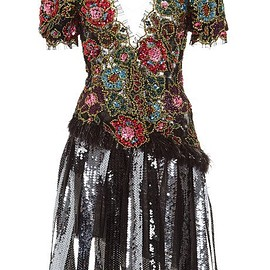 RODARTE - FW2015 Floral Lace And Sequin Dress With Marabou Feather Trim