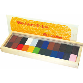 STOCKMAR - Wax Blocks - 24 colours in a wooden case  蜜蝋クレヨン