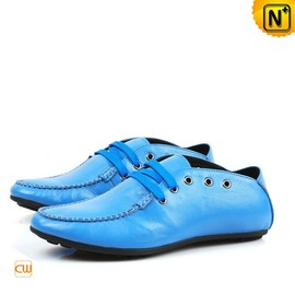 CWMALLS - Mens Blue Leather Driving Shoes CW709063