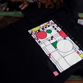 """FRUIT OF THE LOOM - 「<used>'93 """"FRANK LLOYD WRIGHT""""TEE black""""made in USA"""" size:M 4800yen」完売"""