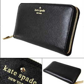 kate spade NEW YORK - kate spade black leather wallet