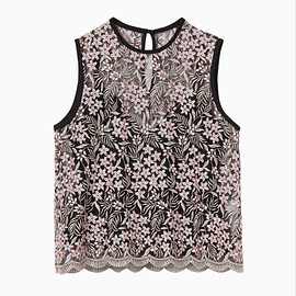 mame - Tulle Embroidered & Scalloped Tops - pink