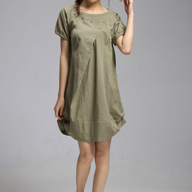 MaLieb - Summer dress/ cotton pleated Short sleeve dress with decorative buttons/ simple army green lantern dress
