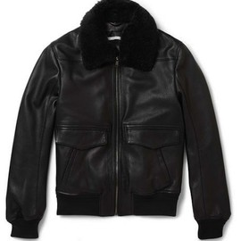 Yves Saint Laurent - The Shearling Collar Leather Bomber Jacket