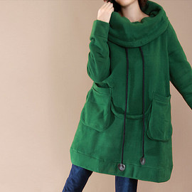 etsy - Wind/ cotton green Big lapel leisure coat