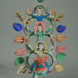 Heron Martinez - Tree of Life Mexican Folk Candle Stand