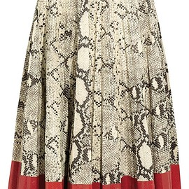 Gucci - Pleated snake-effect leather skirt