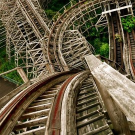 top of the wooden roller coaster aska, in nara dreamland, japan (abandoned theme park)