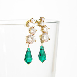 Ostara - 16k Gold Plated Cubic Zirconia Stud Earrings/Swarovski Emerald