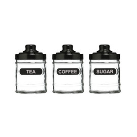 Set Of 3 Matching Black Glass Tea Coffee Sugar Kitchen Storage Canister Jars