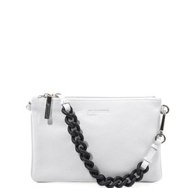 JIL SANDER NAVY - Rubber-chain and leather clutch