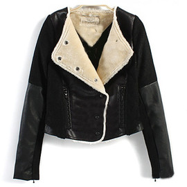 European Style Cool Lapel Faux Leather Spliced Worsted Coat