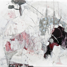 Mayako Nakamura - San'nin no ayatori (The Cat's Cradle with 3 Players), 2011, mixed media (oil, ink, pigment, charcoal, pencil) on canvas