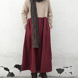 Winter long dress - Winter long dress Plus velvet robe Women bottoming dress girls dress Maxi Linen Dress linen kaftan