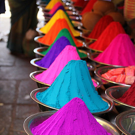 Marrakesh,Morocco - colorful powder
