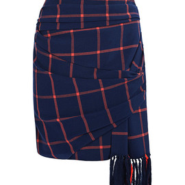 THAKOON ADDITION - Pre-Fall 2014 Plaid Suiting Wrap Skirt