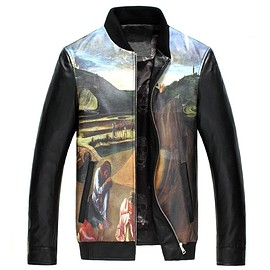 cwmalls - Cwmalls Mens Printed Leather Moto Jackets CW890026
