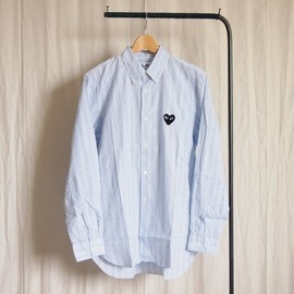PLAY COMME des GARCONS - 綿ブロードStripe Shirt (黒エンブレム) #white/navy/blue