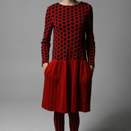 Rudi Gernreich - 60's Knit Dotted & Striped Contrast Dress with Matching Socks