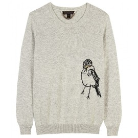 BURBERRY PRORSUM - CASHMERE PULLOVER WITH BIRD MOTIF