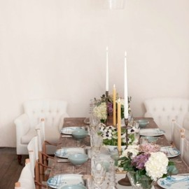 rustic table among pastels