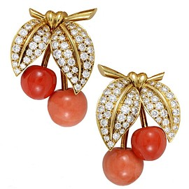 Van Cleef&Arpels - Coral Diamond Gold Clip-on Cherry Earrings