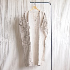 jujudhau - V-Neck Dress #linen natural