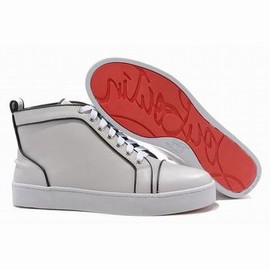 White Christian Louboutin Louis High Top Men Leather Red Sole Shoes