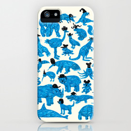 Blue Animals Black Hats iPhone Case