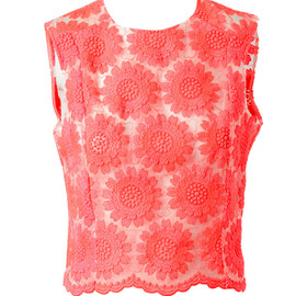 SIMONE ROCHA - FLORAL EMBROIDERED SILK-BLEND TOP