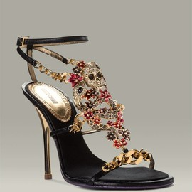 SWAROVSKI - Don't you just love the Swarovski flowers combined with the skull and serpent on these sandals? Roberto Cavalli Skull T-Strap Sandal 2007 for USD 1,230.